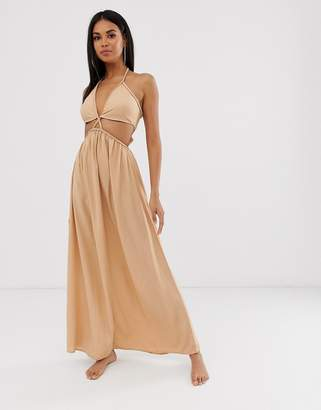 Asos Design DESIGN beach maxi dress with cut out waist & plait strapping in neutral