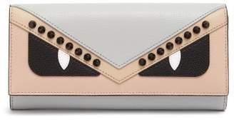Fendi Bag Bugs Foldover Leather Wallet - Womens - Pink Multi