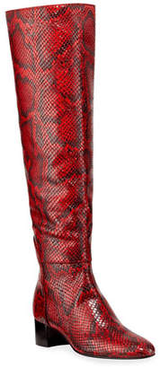 Giuseppe Zanotti Snake-Print Knee Boots