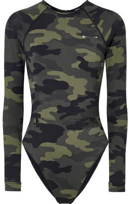The Upside Paddle Camouflage-print Swimsuit - Army green