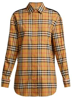 Burberry Saorise Vintage Check Satin Striped Sleeve Shirt - Womens - Beige Multi