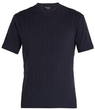 Giorgio Armani Raised Herringbone T Shirt - Mens - Navy