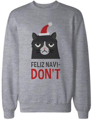 Love Funny Grumpy Cat Graphic Sweatshirt in Grey – Feliz Navi-Don't Funny Holiday Sweater