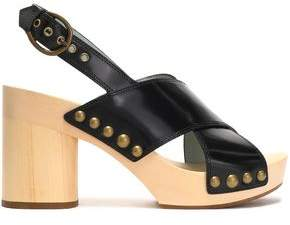 Marc Jacobs Studded Glossed-Leather Platform Sandals