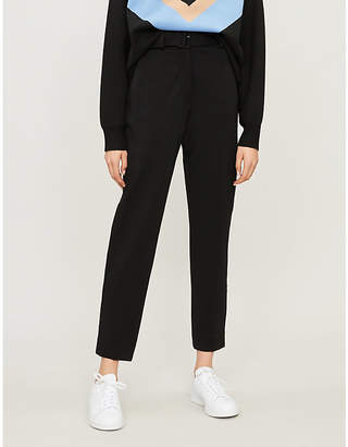 Sandro Franco belted high-rise cropped trousers