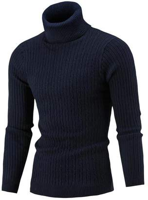 Fulok Mens Cable Knit Slim Turtle Neck Warm Winter Pullover Sweater L
