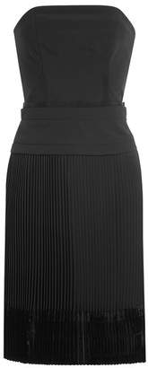 Carven Strapless Dress with Pleated Skirt