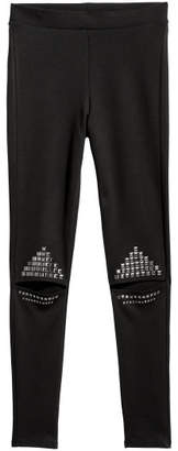 H&M Cut-out Leggings with Studs - Black