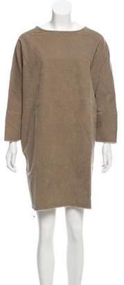 Black Crane Corduroy Mini Dress