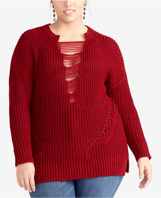 Rachel Roy Plus Size Strappy-Inset Sweater