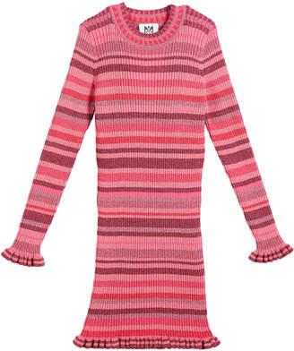 Milly Minis Rib-Knit Metallic Stripe Dress, Size 8-14
