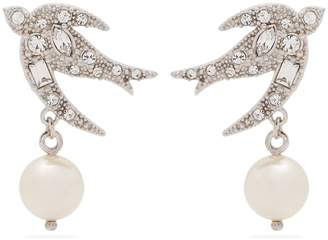 Miu Miu Embellished bird sterling-silver earrings