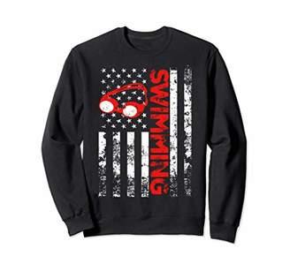 American Flag Swimming USA Patriotic Sweatshirt