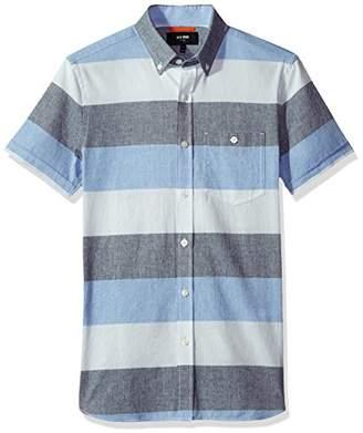 Jack Spade Men's Wide Stripe Oxford Short Sleeve Shirt