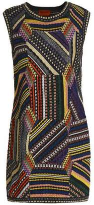 Missoni Patchwork-Effect Metallic Crochet-Knit Mini Dress