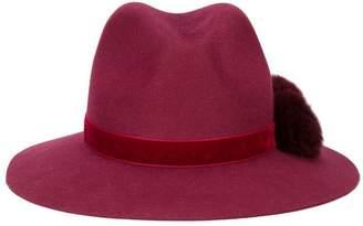Yosuzi burgundy Valentina pom pom fedora hat