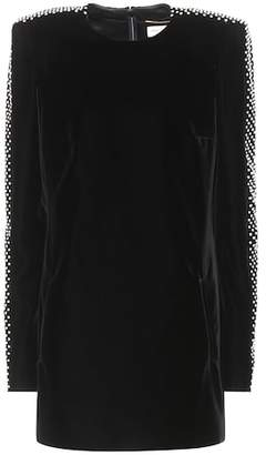 Saint Laurent Embellished velvet minidress