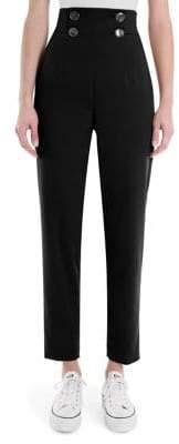 Sara Battaglia High-Waist Cropped Pants