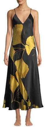 Josie Natori Ginkgo Leaf-Print Long Silk Nightgown