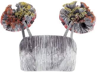 Rosie Assoulin Pom Pom Metallic Bralette Top