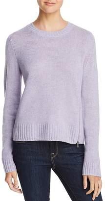 AQUA Cashmere Zip Detail Donegal Cashmere Sweater - 100% Exclusive