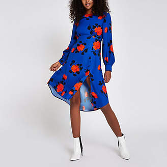 River Island Womens Blue floral print tie back midi dress