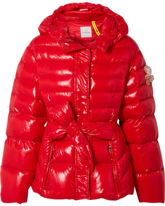Simone Rocha Moncler Genius + 4 Embellished Belted Glossed-shell Down Jacket
