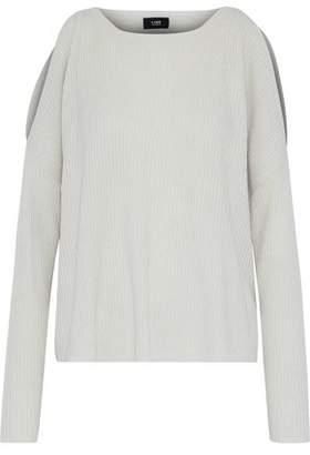 Line Cold-Shoulder Ribbed-Knit Cashmere Sweater