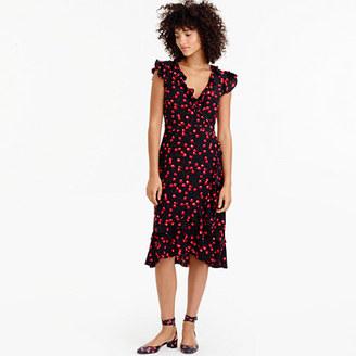 Silk wrap dress in cherry print $198 thestylecure.com