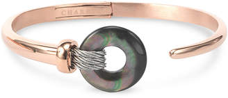 Charriol Black Mother-of-Pearl Two-Tone Bangle Bracelet in PVD Stainless Steel and Rose Gold-Tone