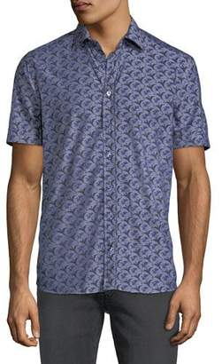 Etro Men's Dragon-Print Poplin Button-Down Shirt