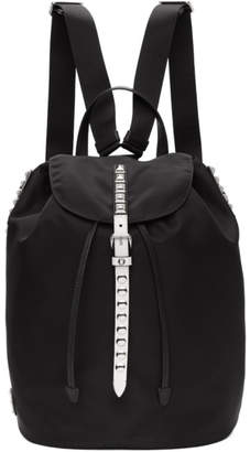 Prada Black and White Studded New Vela Backpack