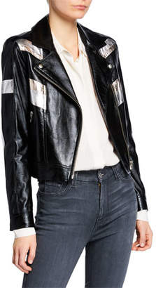 IRO Izquier Metallic Stripe Leather Moto Jacket