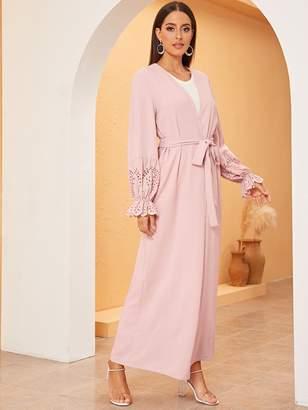 Shein Scallop Trim Laser Cut Maxi Kimono With Belt