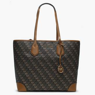 Michael Kors Large Eva Brown Logo Canvas & Acorn Leather Tote Bag