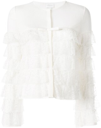 Giambattista Valli ruffle lace-detail cardigan