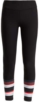 The Upside Mid Rise Striped Cuff Leggings - Womens - Black