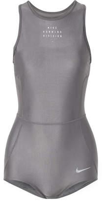 Nike Run Division Cutout Dri-fit Stretch Bodysuit - Gray