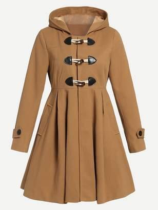 Shein Flared Hem Hooded Duffle Coat