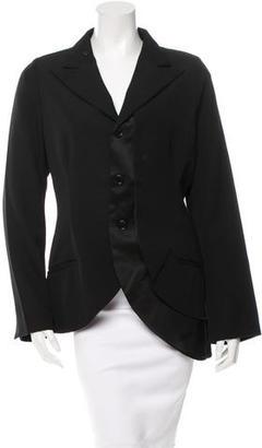 Yohji Yamamoto Silk-Trimmed Wool Blazer $140 thestylecure.com