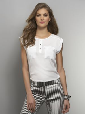 New York & Co. Two-Pocket Cuffed-Sleeve Blouse