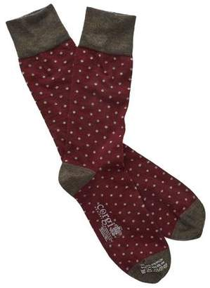 Corgi Polka Dot Socks in Maroon/White