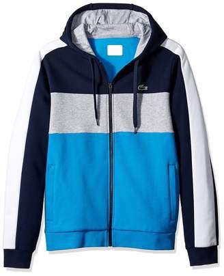 Lacoste Men's Sport Long Sleeve Color Blocked Full Zip Fleece Hoodie