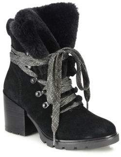Spencer Suede & Faux Fur Block-Heel Booties $199 thestylecure.com