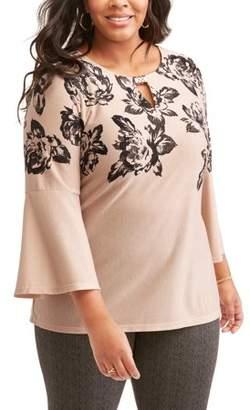 Lifestyle Attitude Women's Plus Printed Bell Sleeve Top