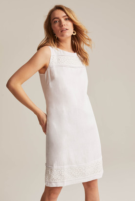 Long Tall Sally Linen Shift Dress with Lace Trim