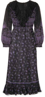 Anna Sui Fountains Of Fancy Fil Coupé Silk-blend Chiffon And Silk-satin Maxi Dress - Black