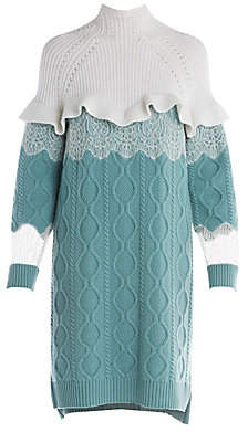 Fendi Women's Lace & Ruffle Detail Cable Knit Sweater Dress