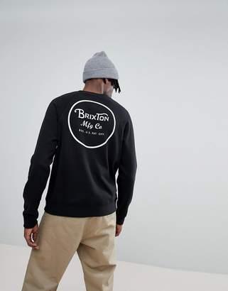 Brixton Wheeler Sweathshirt With Back Print In Black