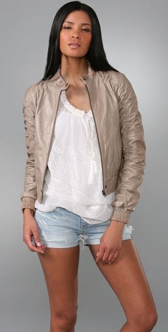 Alice + Olivia Bree Leather Bomber Jacket